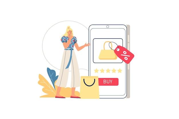 Concepto web de compras en línea. la mujer compra en la aplicación móvil, elige productos, compra rentable con descuentos. comercio móvil, escena de gente mínima. ilustración de vector de diseño plano para sitio web