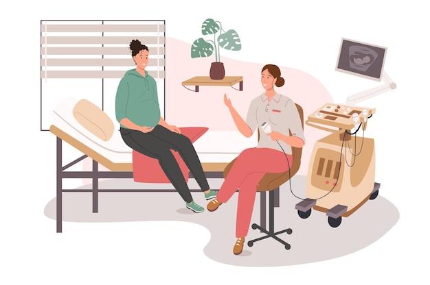Concepto de web de consultorio médico. mujer embarazada en ultrasonido. el médico examina al paciente, monitoreando el desarrollo prenatal del bebé
