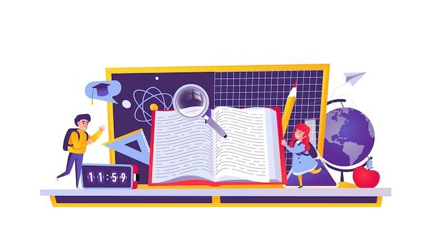 Concepto web de educación en estilo de dibujos animados