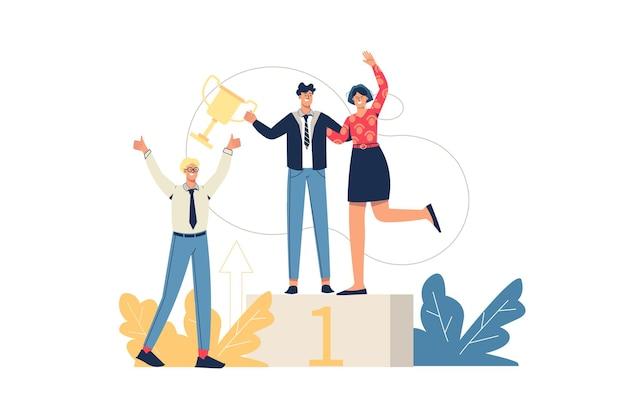 Concepto de web de éxito empresarial. los empleados celebran la victoria, alcanzan el primer lugar y reciben el trofeo. trabajo en equipo, consecución de objetivos, escena mínima de personas. ilustración de vector de diseño plano para sitio web