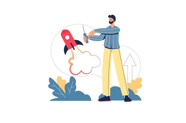 Concepto de web de inicio creativo. el hombre de negocios lanza un nuevo proyecto comercial, desarrollo y crecimiento de ganancias, estrategia exitosa, escena mínima de personas. ilustración de vector de diseño plano para sitio web