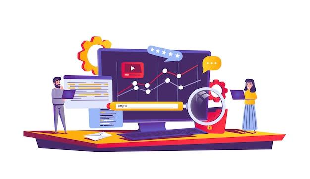 Concepto web de optimización seo en estilo de dibujos animados