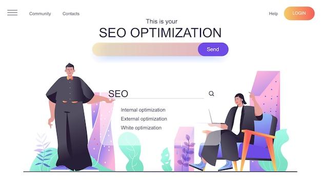 Concepto web de optimización seo para página de destino.