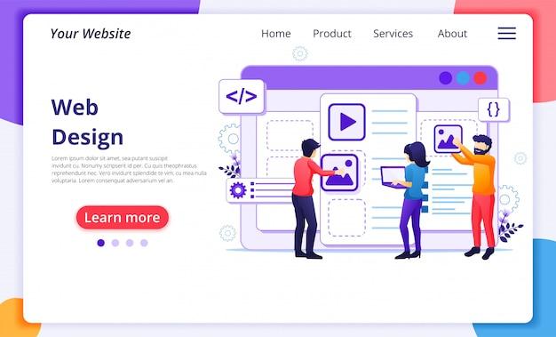 Concepto web, personas que crean un contenido de aplicación web y lugar de texto. plantilla de página de destino del sitio web