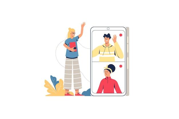 Concepto de web de video chat. chica hace videollamada a madre y padre. familia hablando en línea en la conferencia. tecnologías modernas, escena de gente mínima. ilustración de vector de diseño plano para sitio web