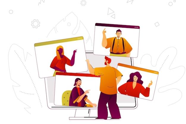 Concepto web de videoconferencia reunión de negocios en línea o videollamadas de amigos
