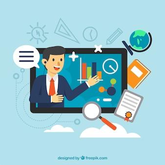 Concepto de webinar con hombre en tablet