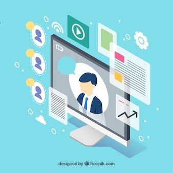 Concepto de webinar con pantalla