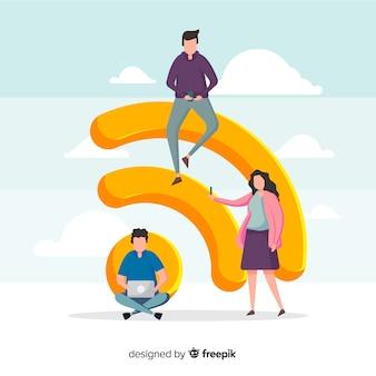 Concepto de wifi en diseño plano