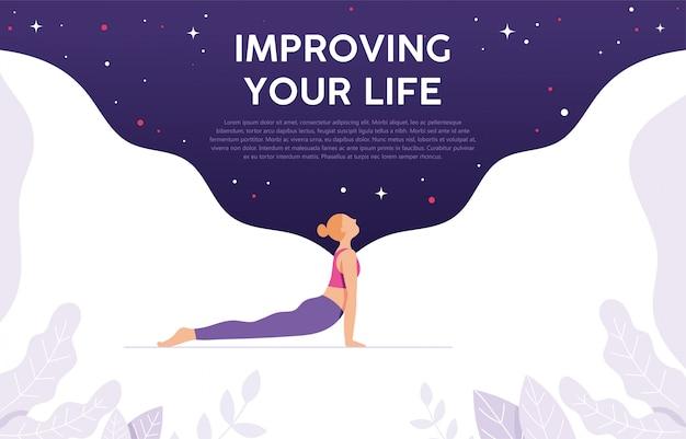 Concepto de yoga mujer como un estilo de vida saludable