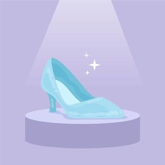 Concepto de zapato de cristal de cenicienta
