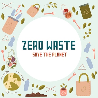 Concepto de zero west la inscripción guardar la plantilla de diseño de logotipo de vector de planeta y el icono de desperdicio cero