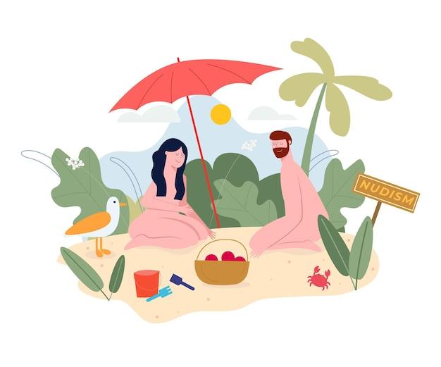Concepto de zona desnuda plana ilustrada