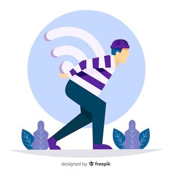 Concepto de zona wifi en diseño plano con señal