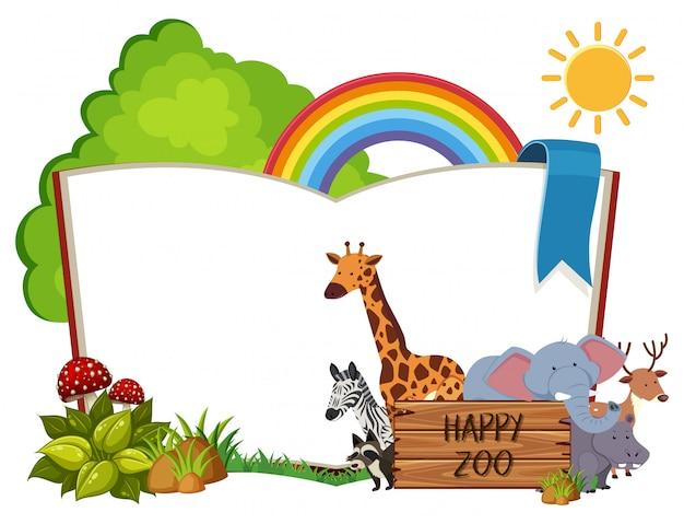 Concepto de zoológico happy book en blanco del libro