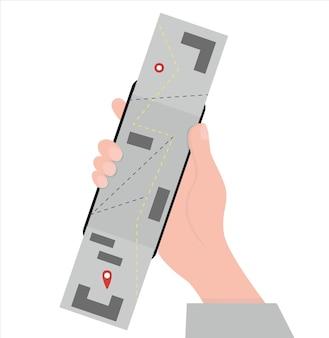 Conceptos de aplicaciones móviles para navegación o mapas. estilo de dibujos animados