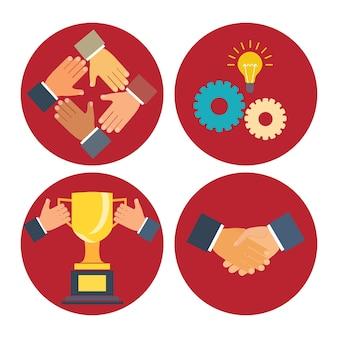 Conceptos de asociación y cooperación ilustración de vector de negocio en estilo plano moderno