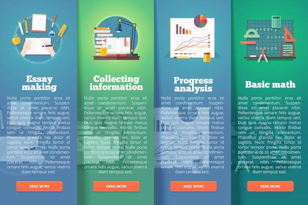 Conceptos de diseño vertical de educación y ciencia. estilo moderno.