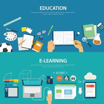 Conceptos de educación y diseño plano de e-learning.