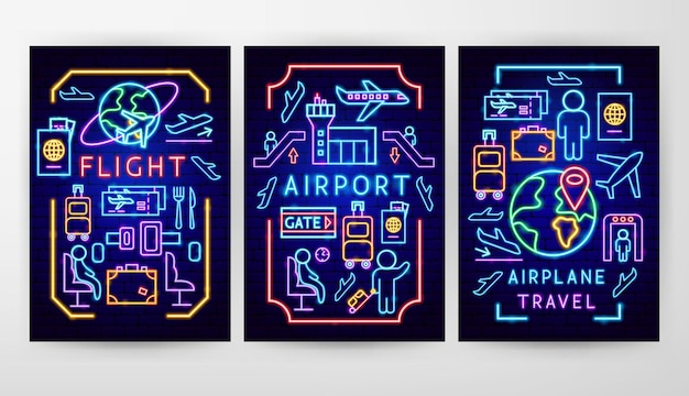 Conceptos de flyer de aeropuerto. ilustración de vector de promoción de avión.