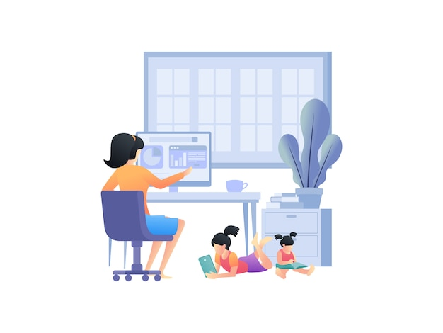 Conceptos ilustrativos sobre trabajar desde casa con la familia