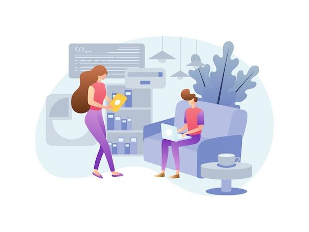 Conceptos ilustrativos sobre trabajar desde casa