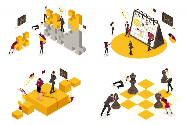Conceptos isométricos de procesos de negocio, desacuerdos, análisis, planificación, asociación.