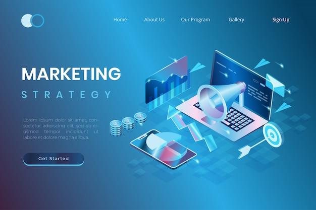 Conceptos de marketing digital y promoción, desarrollo de inicio, análisis de datos de marketing en estilo isométrico de ilustración 3d
