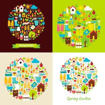 Conceptos de objetos planos de jardín de primavera. ilustración de vector. colección de herramientas de jardinería de temporada de la naturaleza.