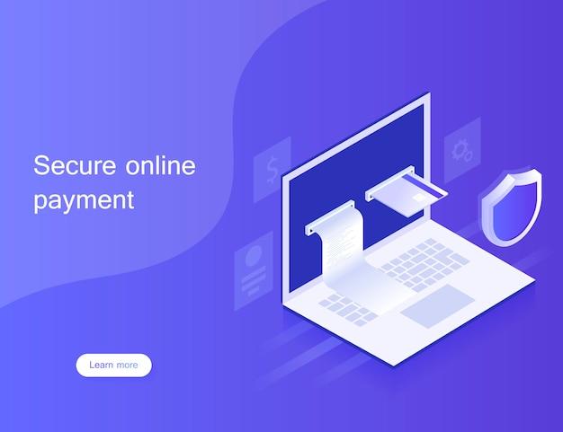 Conceptos de pagos en línea vía laptop, protección de datos personales. diseño para la página de destino. ilustración moderna en estilo isométrico.