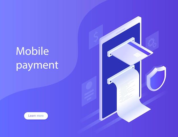 Conceptos pagos móviles, protección de datos personales. diseño para la página de destino. ilustración moderna en estilo isométrico.