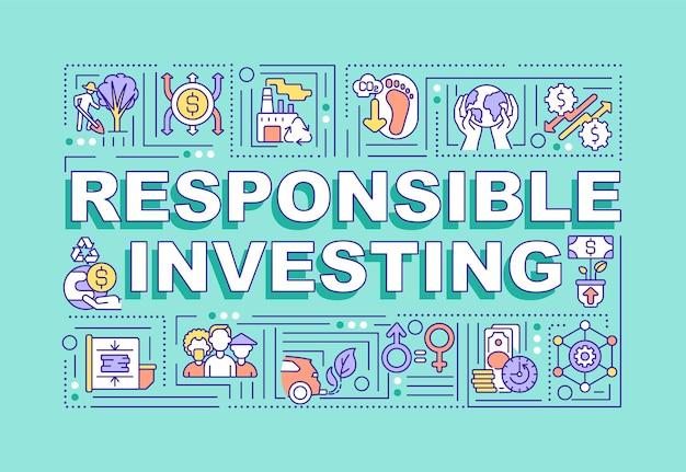 Conceptos de palabra de inversión responsable. creación de presupuesto para la riqueza futura.