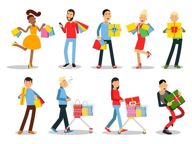Conceptos de personas de compras. diseño plano. colección de sonrientes personajes de mujeres y hombres con cajas de regalo, bolsas de papel y carrito con productos. placer de compra. para rebajas y descuentos