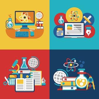 Conceptos planos de educación y ciencia.