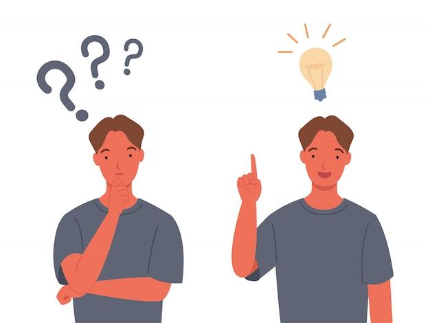 Conceptos de resolución de problemas. los hombres piensan, con signos de interrogación.