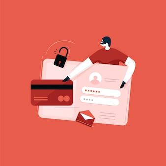 Conceptos de seguridad cibernética, antivirus, piratas informáticos y malware, robo de datos personales