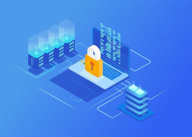 Conceptos de seguridad de red de protección isométrica. portátil con datos y protección contra ataques de hackers. la seguridad cibernética.