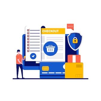 Conceptos de servicios online de análisis y estadística con carácter. factura en papel en la pantalla del ordenador.