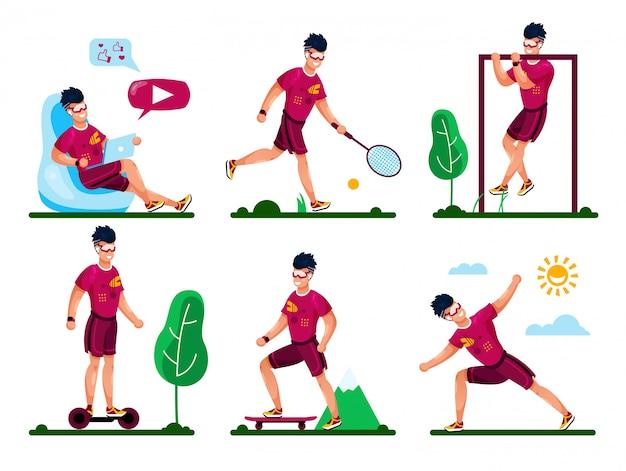 Conceptos de vector plano de actividades de recreación de verano