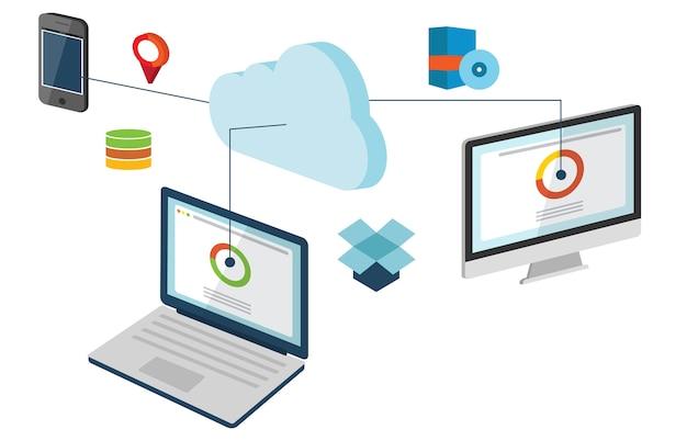 Conceptual de la ilustración de cloud computing