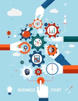 Conceptual de un negocio y emprendimiento, inicio o lanzamiento de negocios con engranajes y engranajes con varios iconos