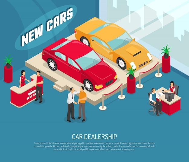 Concesionaria de coches de arrendamiento de composición