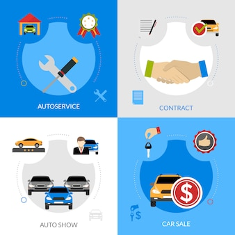 Concesionaria de coches elementos planos concepto cuadrado