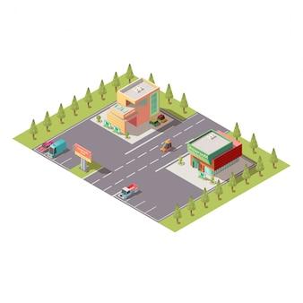 Concesionario de automóviles showroom edificios vector isomérico