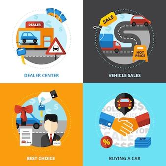 Concesionario de coches, 2x2, concepto, conjunto, de, distribuidor, centro, vehículo, venta, compra, automóvil