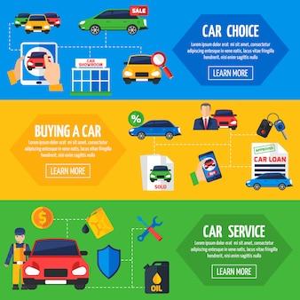 Concesionario de coches 3 conjunto de banners planas