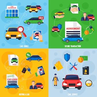 Concesionario de coches 4 iconos planos cuadrados