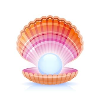 Concha de mar abierto con perla, ilustración vectorial realista.