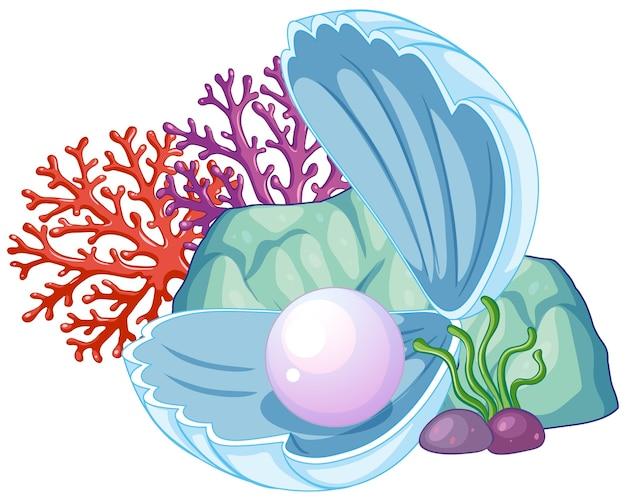 Concha de perla bajo el agua aislado
