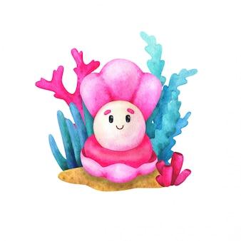 Concha rosa con una perla. ilustración infantil